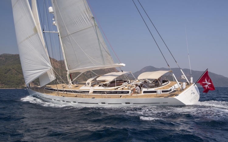 92ft custom-built S/Y SAVARONA sailing yacht at sea