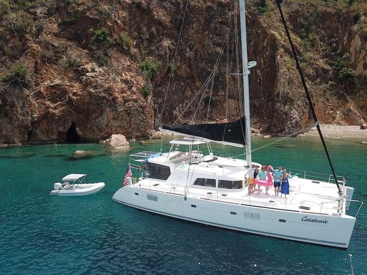 Main shot of award-winning 51ft Lagoon 500 sailing catamaran Catatonic
