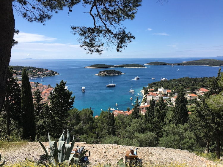 View from the Spanish Fortress in Hvar town, Croatia