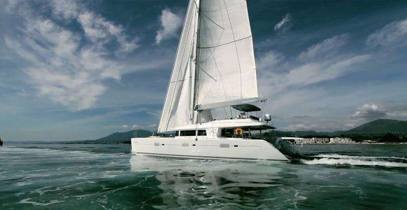 162ft Foxy Lady Lagoon sailing yacht at sea in The Caribbean