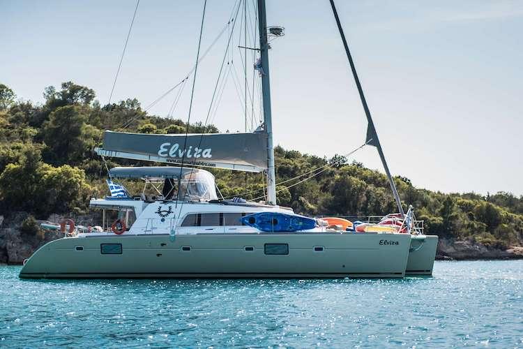 51ft Lagoon sailing catamaran ELVIRA is based in Greece on the Mediterranean