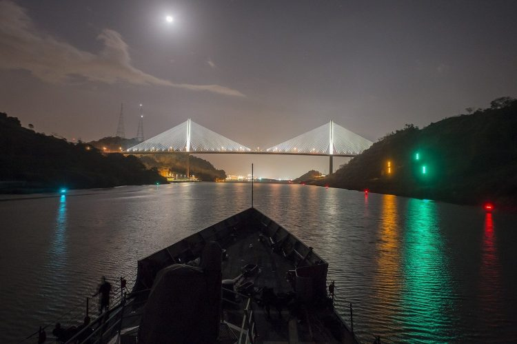 Panama Canal and Centennial Bridge at night