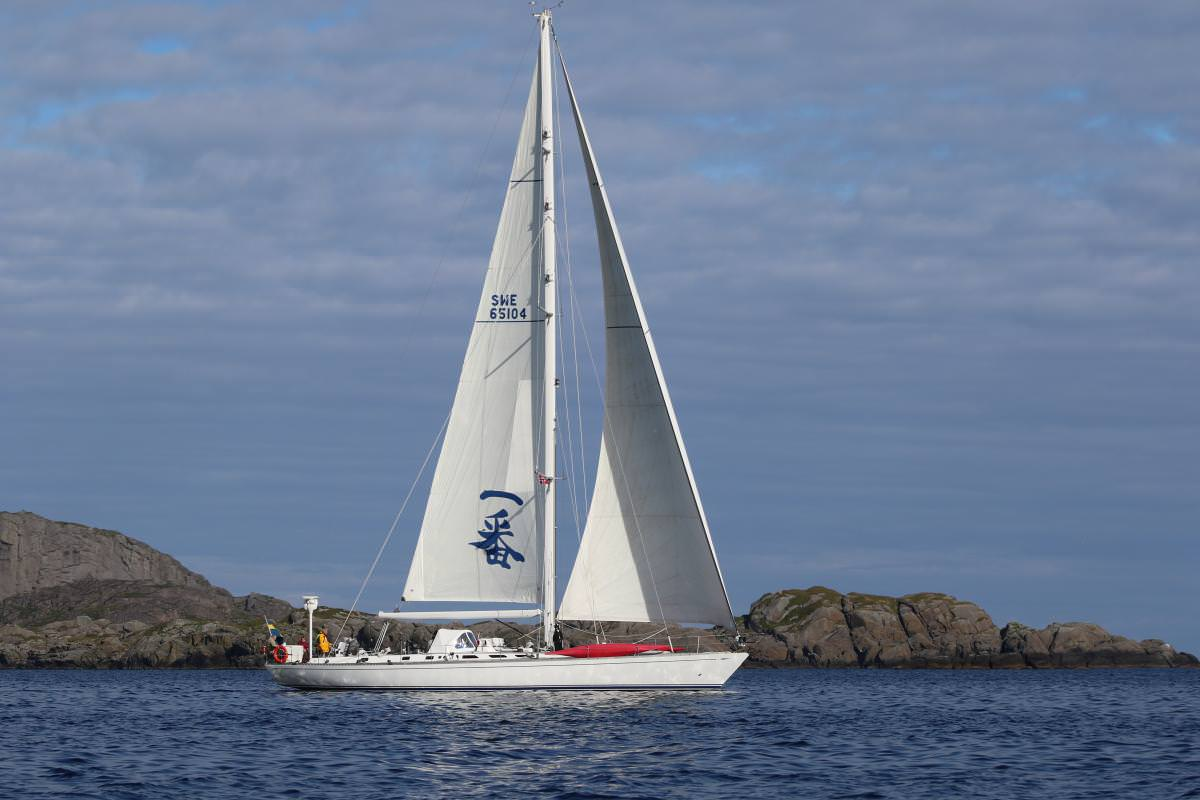90ft Swan sailing yacht ICHIBAN, at sail off Sweden's archipelago, operates in northern Europe