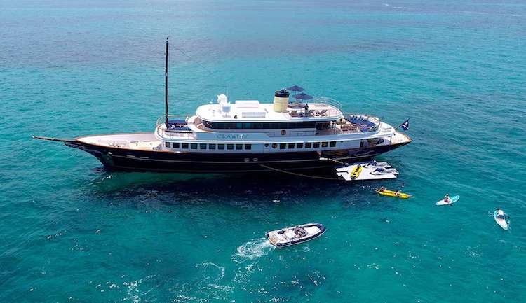 160ft Bilgin motor yacht CLARITY with jet skis, operates in the Caribbean