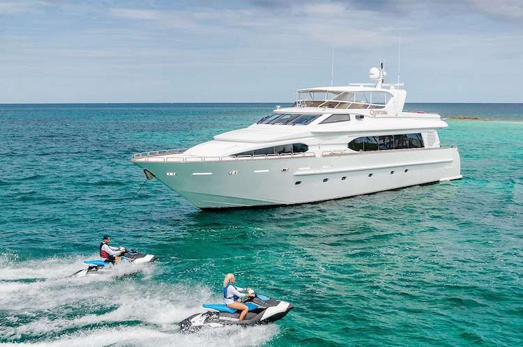 94ft Destiny motor yacht QUINTESSA with jet skis, operates in the Caribbean