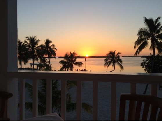 Sunset view of beach and palm trees from Pierre's restaurant in Islamorada in the Florida Keys.