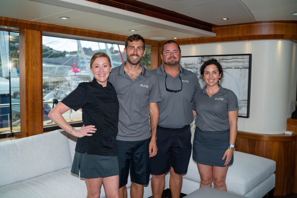 The crew of the USVI Charter Yacht Show 2020's Best in Show: the 92ft Sunseeker motor yacht ELITE
