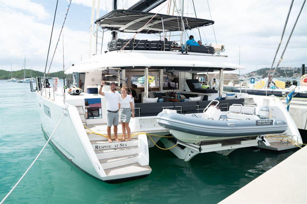 56ft Lagoon catamaran RESPITE AT SEA's crew won Best Crew at the USVI Charter Yacht Show 2020