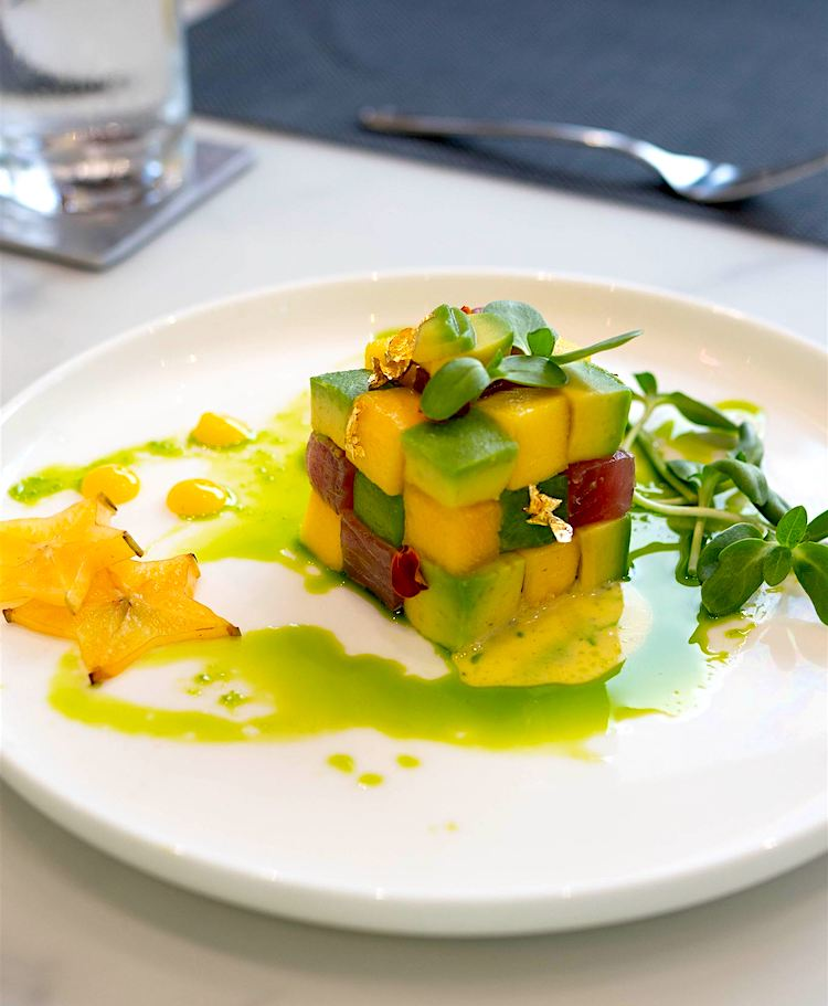 Avocado, mango and tuna cube of cubes served by top yacht chef at the US Virgin Islands Charter Yacht Show 2020