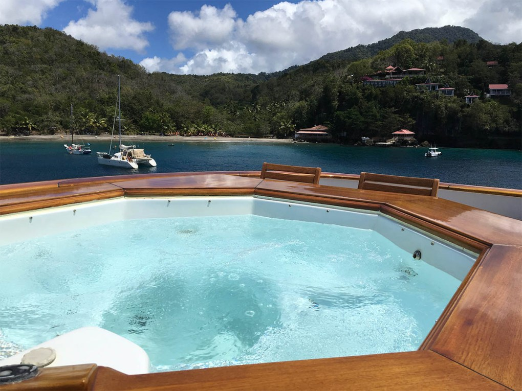 Private Jacuzzi aboard charter yacht in the Virgin Islands
