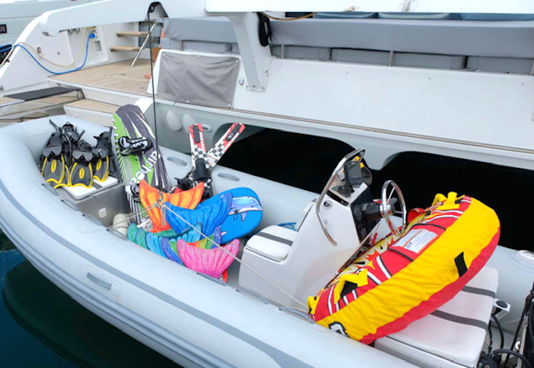 A tender full of water toys for the guests of 62ft Lagoon catamaran FOXY LADY