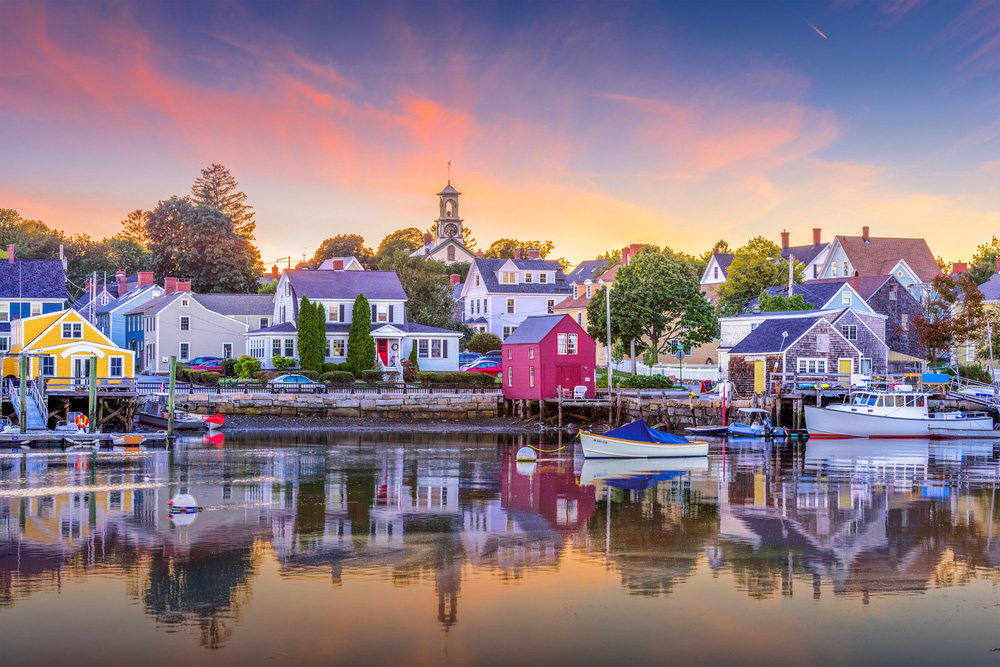 Famously beautiful coastal town Camden, Maine reflected in the harbor water