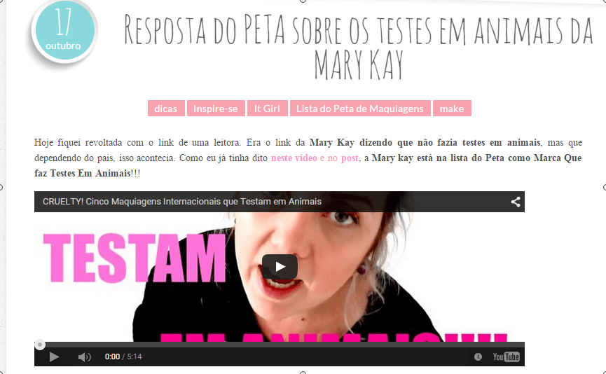 Cruelty Free  Vegan Beauty Blog by Nicole Make » Blog Archive » Resposta do PETA sobre os testes em animais da MARY KAY