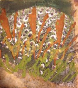 10 x 10 Encaustic Undersea Urchin
