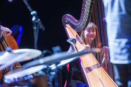 Photo of Carol Robbins enjoying a quartet performance for Lyon & Healy's 150th Birthday Celebration at Park West in Chicago. Photo © Copyright 2014 Lyon & Healy Harps, Inc., Chicago.
