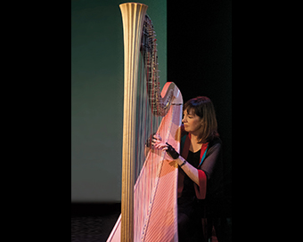 photo of Carol Robbins playing harp on stage