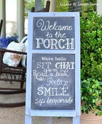 chalkboard front porch sign