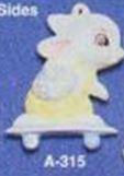Alberta Ornaments 0315 bunny on skateboard