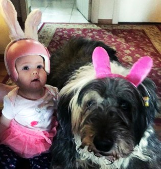 Baby and dog Easter bunny ears plagiocephaly
