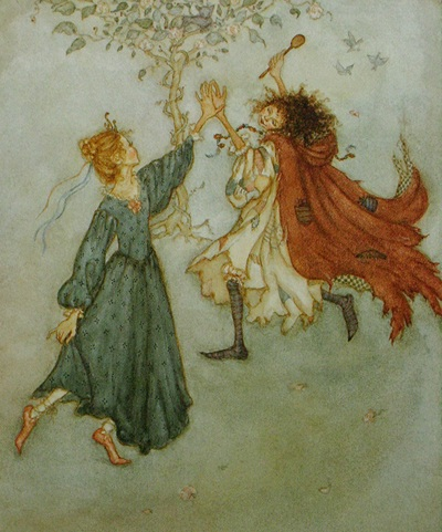 Illustration from Tatterhood and the Hobgoblins retold and illustrated by Lauren Mills, published 1993.