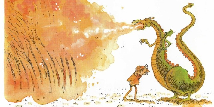 """Illustration from """"The Paper Bag Princess"""" written by Robert Munsch and illustrated by Michael Martchenko"""