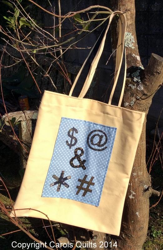 Carols Quilts Modern Symbols on bag