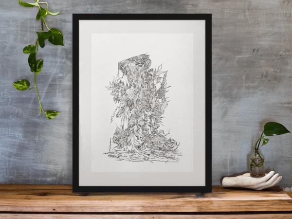 Framed print of the Life Finds A Way original artwork available for sale
