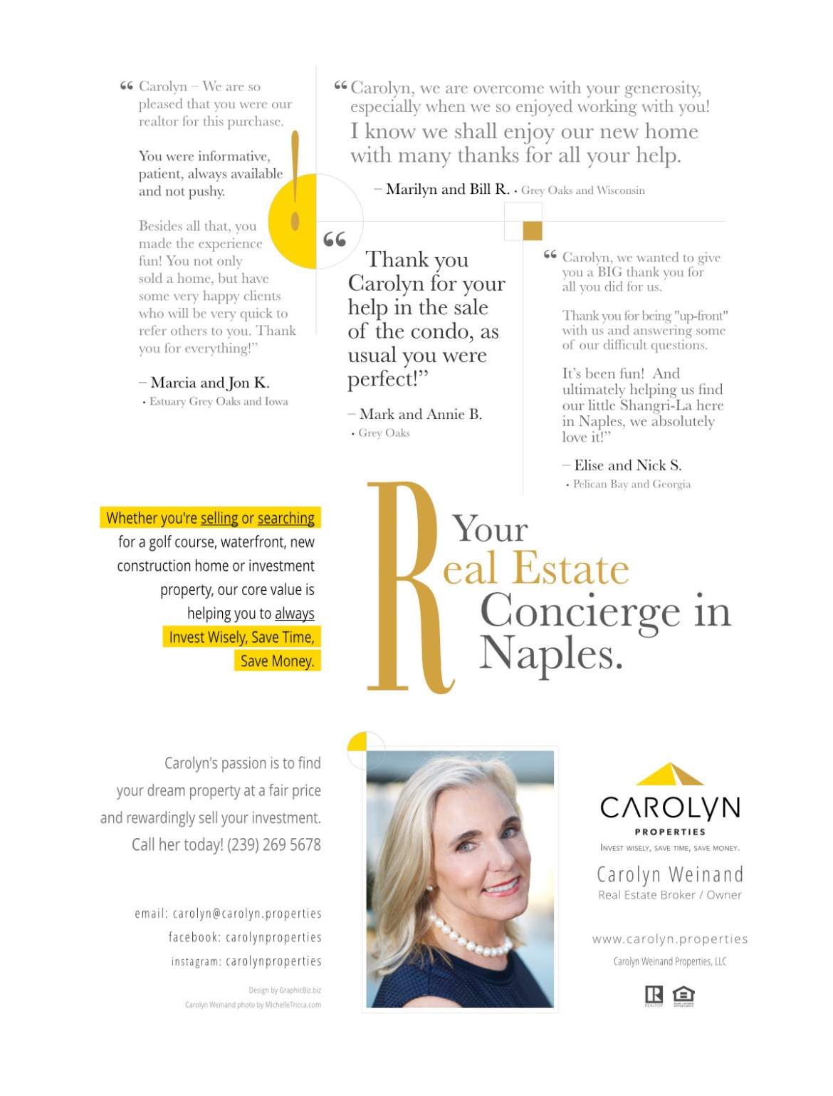 Carolyn Properties  client testimonials featured in advertising October 2017