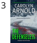 The Defenseless by Carolyn Arnold black Labrador with sad eyes protected by a person in a black hoodie