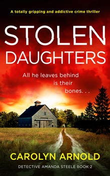 Stolen Daughters by Carolyn Arnold, a barn at the end of a dirt laneway under a red fiery sky.