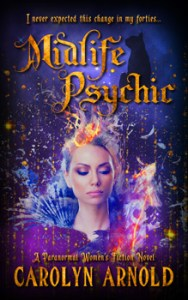 Midlife Psychic by Carolyn Arnold a woman seeing a vision amidst the cosmoses with gold sparks raining down