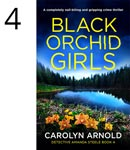 Black Orchid Girls by Carolyn Arnold, preteen lake will trees in the background spread of orchids bottom front.