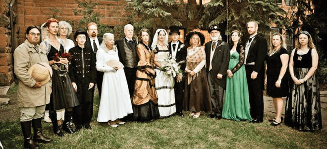 "In a classic Victorian ""sourpuss"" pose, here's the gang: (left to right)  Leif, Jasmine, Holly, Alex, Ben, Carolyn, Wahhab, Kay, Faith, Tim,  Rahima, Agaf, Maureen, Seth, Barbara, Christina (missing are Carl and  Chris, and Lee and Lucille, who couldn't make it)"