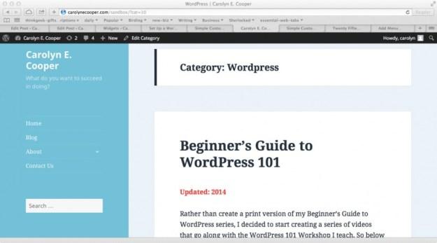 Wordpress Admin customizer screen showing theme menu in serif font.
