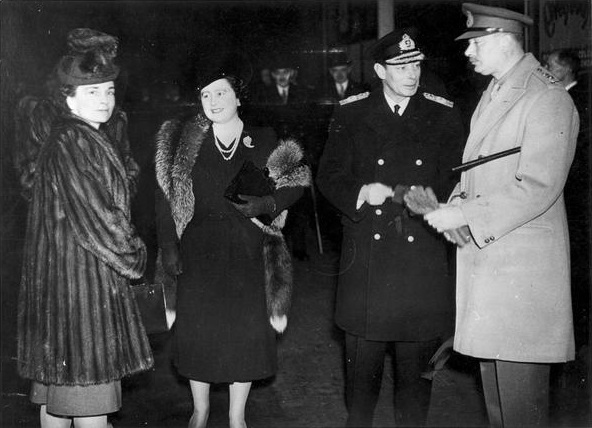 King George VI and Queen Elizabeth (centre) with the Gloucesters at Euston Station immediately before the Gloucesters' departure for Australia