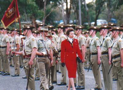 """Bloke Magnet"" Princess Anne, the Princess Royal at the Royal Australian Corps of Signals 75th Anniversary parade on 5 July 2000."