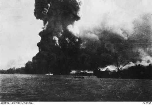 The Neptunia blowing up during attack by Japanese. Source: Australian War Memorial