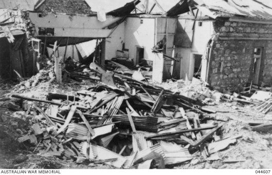 Ruins of the Post Office after the first Japanese. Source: Australian War Memorial