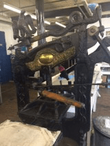 Image of a Columbian press at Hot Bed Press