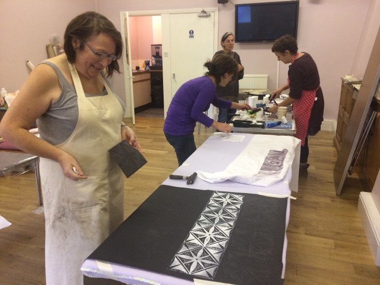 Image of a Carolyn Murphy fabric printing workshop in the Lake District