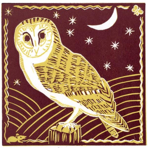 Image of reddish brown version of Carolyn Murphy's 'Barn Owl' linocut