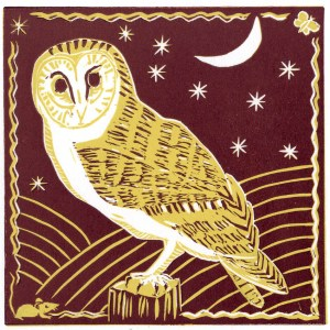 Image of reddish brown version of Carolyn Murphy's 'Barn Owl' linocut
