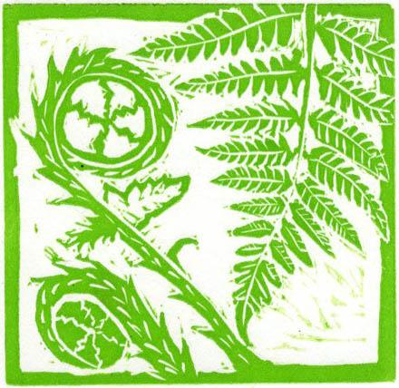 Image of Carolyn Murphy's Fern mini linocut