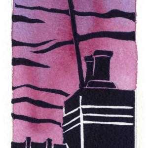 Image of an original linocut by artist Carolyn Murphy 'Rooftop' in rose.