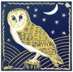 Image of a linocut of a barn owl by artist Carolyn Murphy