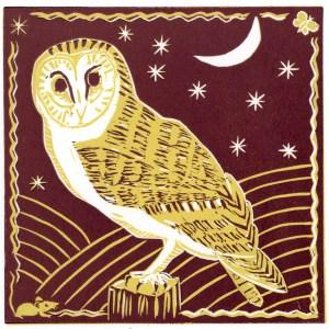 Image of a barn owl linocut by artist Carolyn Murphy
