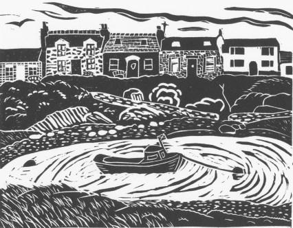 Image of original linocut by Carolyn Murphy of the small harbour at Portnahaven on Islay