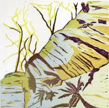 Image of Carolyn Murphy linocut 'In the Woods'