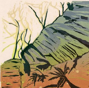 Image of linocut 'Into the Woods' by Carolyn Murphy