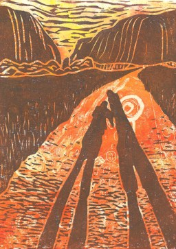 Image of a linocut with monoprint background by Carolyn Murphy depicting the Kata Tjuta hills in Australia